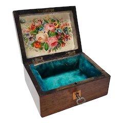 Victorian Wooden Box Chromolithograph Scraps Scenic Bottom Original Key