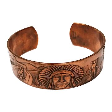Vintage Copper Cuff Bracelet Native American Design Mohawk Trail Souvenir