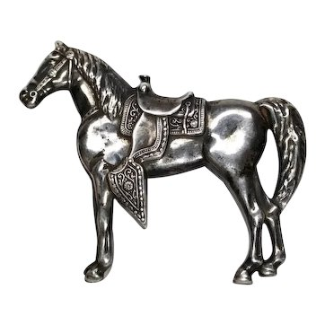 Sterling Silver Western Horse Pin Full Figure Ornate Saddle Ca.1940s