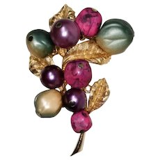 Vintage Dimensional Satin Luminous Berries Leaf Brooch - Signed ART