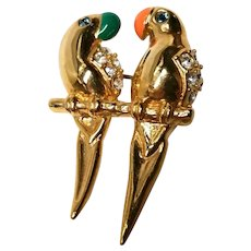 Krementz Tropical Birds Pin Brooch Parrots 14 kt Gold Overlay Original Box