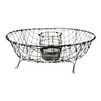 Antique Round Wire Dish Drainer Dryer Utensil Basket Vintage Wirework