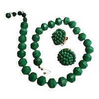 Vintage Marvella Green Neo-Jade Bead Necklace & Earrings Set 1950s 1960s Jewelry
