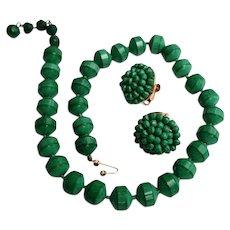 Vintage Marvella Green Neo-Jade Bead Necklace & Earrings Set 1950s 1960s Jewelry