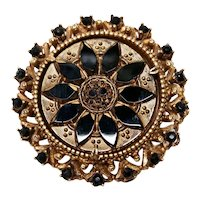 Florenza Jewelry Victorian Revival Brooch Jet Black Glass Mid Century Mourning Style Pin
