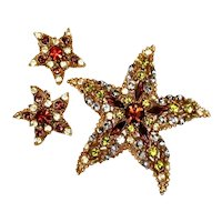 Vintage Florenza Starfish Jewelry Domed Rhinestone Brooch and Earrings Set Designer Signed
