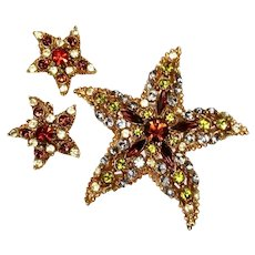 Vintage Florenza Starfish Jewelry Domed Rhinestone Brooch and Earrings Set Topaz Designer Signed