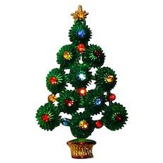 Vintage Hedy Christmas Tree Pin Brooch Green Pom Pom Rhinestones