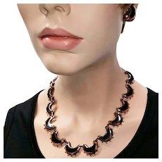 Vintage Renoir Copper Necklace Earrings Set Anodized - Crescent Half Moon 1950s
