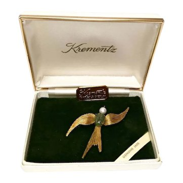 Krementz Jewelry Jade Swallow Bird Pin 14 Kt Gold Overlay Original Box