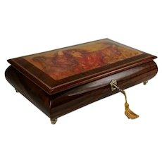 Vintage Edna Hibel Wooden Music Box With Tassel Key Reuge Swiss Barcarole Hoffmanns Erzahlungen Made in Italy