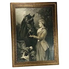Antique Equestrian Print Thoroughbred Horse Heywood Hardy 1880 Vintage Riding Habit Attire
