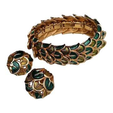 Vintage Signed Boucher Enameled Fish Scale Expansion Bracelet & Earrings Set 1960s
