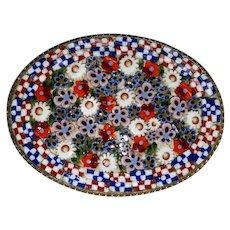 Vintage Mosaic Millefiori Brooch Floral Checkerboard Border Pin Italy