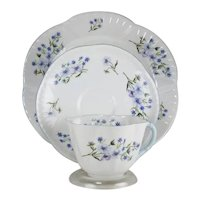 Shelley Blue Rock Pattern Trio Cup Saucer Plate Dainty Bone China England