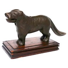 Vintage St. Bernard Dog Nutcracker Brass Figural Walnut Wood Base