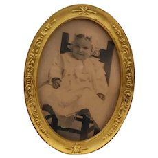 Antique Gilded Brass Repousse Oval Photograph Frame Baby Picture