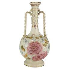 Antique German Porcelain Rudolstadt Works RW Floral Gilt Vase or Urn