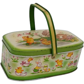 Vintage Tin Litho Easter Candy Container Basket Pail Rabbit Ducks 1952