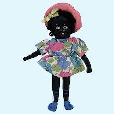 Adorable Black Americana Tiny Cloth Girl Doll 7 Inch Vintage 1940s Mid Century