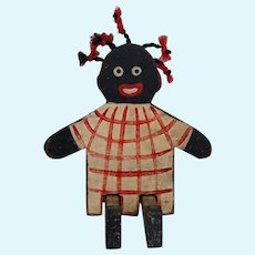 CUTE Black Americana Wooden Folk Art Doll Googly Eyes Pigtails Vintage