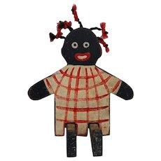 CUTE Black Americana Wooden Folk Art Doll Googly Eyes Pigtails Vintage