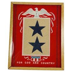 PATRIOTIC Sons in Service Blue Stars Framed Reverse Painted Glass Eagle Motif Sentimental Vintage WWII