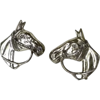 FANCY Equestrian Horse Earrings Sterling Silver Screw Back Vintage 1940s