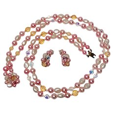 Luscious Pink Double Strand Beads Necklace & Earrings Set Faux Pearl AB Crystal Faceted Amber Beads Japan 1950s Mid Century