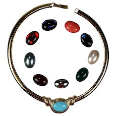 Joan Rivers Omega Necklace 10 Interchangeable Color Cabochons Pendant Enhancer Original Box