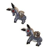 Vintage Donkey Figural Scatter Pins Enamel & Rhinestone Backpacks Figures Pair