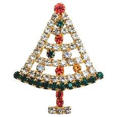 Vintage Rhinestone Christmas Tree Pin Lots of Sparkle Openwork Setting