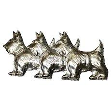 Vintage Scottie Dog Trio Pin Sterling Scotty Scottish Terrier 1940s