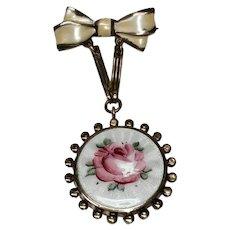Vintage Rose Guilloche Dangle Brooch - Sentimental Locket Reverse