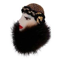 Ceramic Lady Face Brooch Mink Collar Gold Metallic Cloche Deco Flapper Style Pin