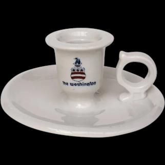 Vintage Restaurant Ware Chamberstick Candle Holder Washington Hotel DC Stars Stripes Logo 1930s