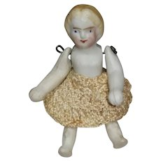 Vintage Bisque Doll Tiny 2 1/4 Inch Jointed Arms Legs Crocheted Skirt
