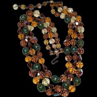 SPARKLING Aurora Borealis & Molded Art Glass Triple 3 Strand Necklace Vintage 1950s - 1960s