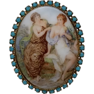Vintage Brooch Ladies Garden Scene Porcelain Transferware With Turquoise Glass Stones