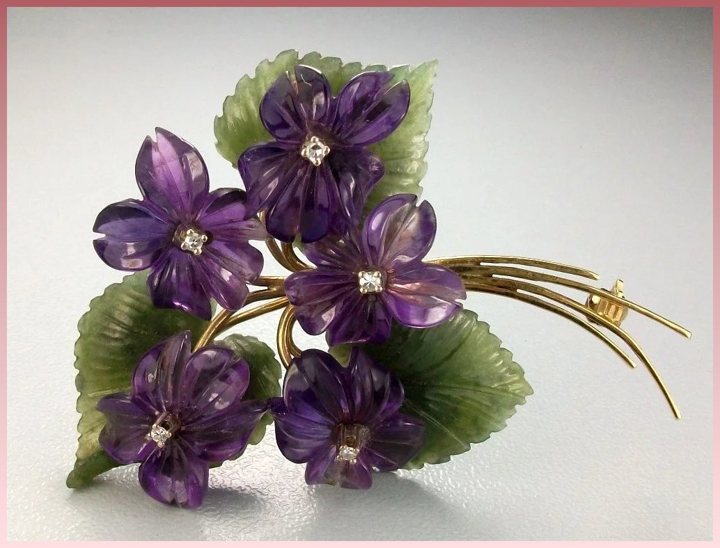 celluloid west stunning brooch flowers germany pin purple earring and set violet lifelike