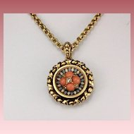 Stunning Victorian Coral and Diamonds Pendant - Necklace