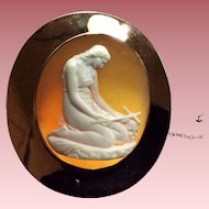 Oustanding Museum Quality Victorian Cameo Brooch of a Penitent Mary Magdalene after Canova