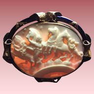 Rare Museum Quality Cameo Brooch of the Hours Leading the Horses of the Sun