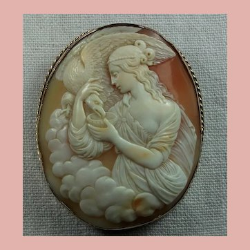 Beautiful Museum Quality Victorian Shell Cameo Brooch of Hebe Feeding the Eagle