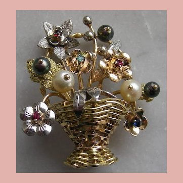 Magnificent 18k Basket of Flowers Giardinetto Brooch with Gemstones circa 1950