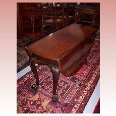 Rare Period Mahogany Chippendale Carved Drop-Leaf Table with Hairy Paw Feet