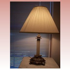 Brass Lamp with Marble Column and shade