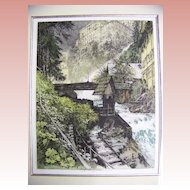 Signed Color Etching by Luigi Kasimir  River Scene