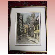 "Signed Color Etching by Luigi Kasimir  ""Castem 1943"""