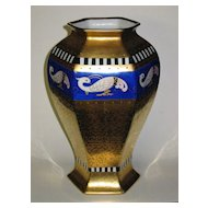 "Large Pickard Hand Painted ""BORDURE ANTIQUE"" Vase Artist Signed HESSLER"